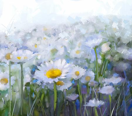 牧草地の油絵白いデイジーの花。ソフト白と光のお花畑で抽象画油絵太陽の光は、青の色とスタイルの背景をぼかし。