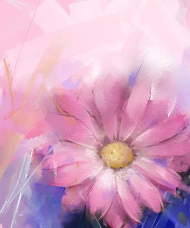 ピンクの花。ガーベラの花の油絵