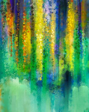 추상 노란색 꽃. 수채화 그림. 녹색 배경 위에 나뭇잎과 꽃 봄 노란색 꽃 등나무 나무입니다.