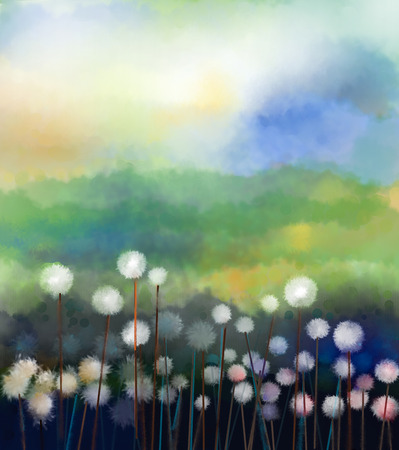 Abstract oil painting white flowers field in soft color. Oil paintings white dandelion flower in the meadows. Spring floral seasonal nature with blue - green hill in background. Foto de archivo