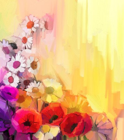 oil paint: Oil painting Still life of white,yellow and red color flowers. Hand Paint a bouquet of poppy, daisy and gerbera flower on yellow and orange background