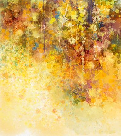 水彩画、柔らかい色の葉と白い花を抽象化します。グランジ紙背景に黄色がかった茶色のテクスチャです。ヴィンテージ絵画花の柔らかい色のスタ