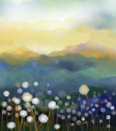 Abstract oil painting white flowers field in soft color. Oil paintings white dandelion flower in the meadows. Spring floral seasonal nature with blue - green hill in background. Stock Photo