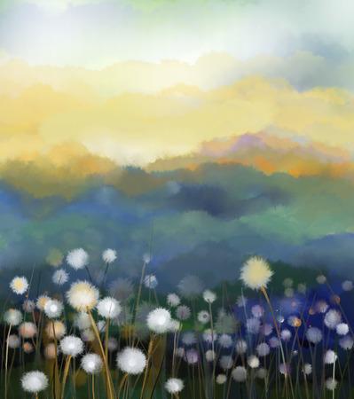 abstrakt: Abstraktes Ölgemälde des weißen Blüten Feld in sanften Farben. Ölgemälde weiße Blume Löwenzahn auf den Wiesen. Frühlingsblumen Saisonalität mit blau - grünen Hügel im Hintergrund. Lizenzfreie Bilder