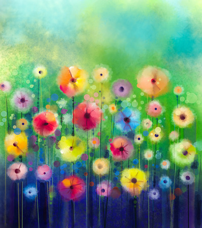 flower meadow: Abstract floral watercolor painting. Hand paint Yellow and Red flowers in soft color on green color background. Spring flower seasonal nature background Stock Photo