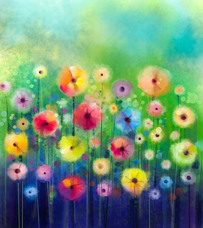 Résumé peinture florale d'aquarelle. Peinture à la main jaune et rouge des fleurs de couleur vert tendre sur fond de couleur. Printemps fleur nature saisonnière de fond