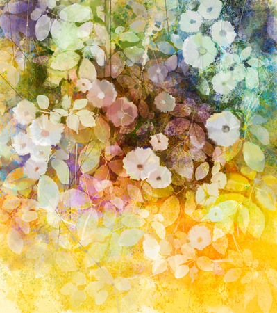 Watercolor painting white flowers and soft color leaves. Yellow-brown color texture on grunge paper background. Vintage paint flower style in soft color and blur background for your design
