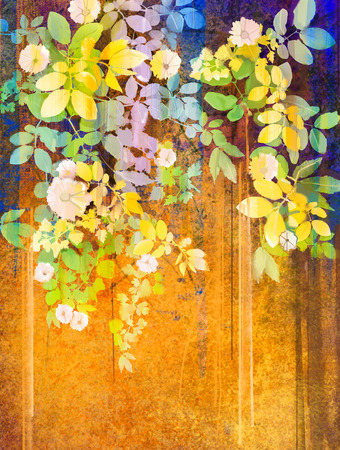 abstract painting: Watercolor painting white flowers and soft green leaves. Yellow-brown color texture on grunge paper background. Hand paint soft color flower style and blur background for your design