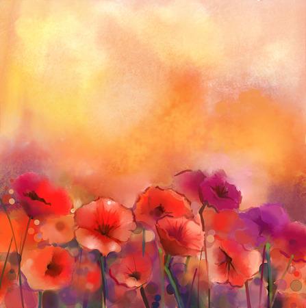 수채화 빨간 양 귀 비 꽃 그림입니다. 부드러운 색상과 흐림 스타일, 노란색과 오렌지 배경에 꽃 페인트. 봄 꽃 계절 자연 배경