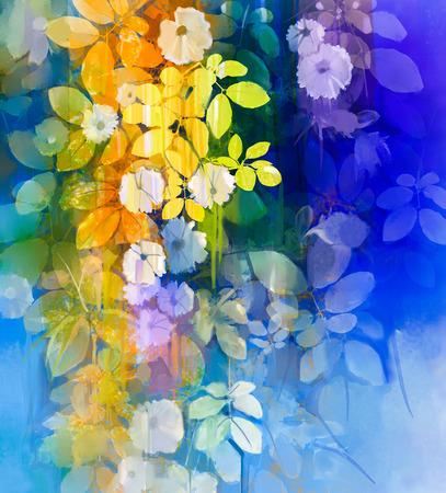 추상 꽃 수채화 그림. 파란색과 녹색 색상의 배경에 부드러운 녹색 잎 핸드 페인트 흰 꽃. 봄 꽃 계절 자연 배경