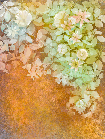 painting art: Watercolor painting white flowers and soft green leaves. Yellow-brown color texture on grunge paper background. Vintage painting flowers style in soft color and blur background for your design Stock Photo