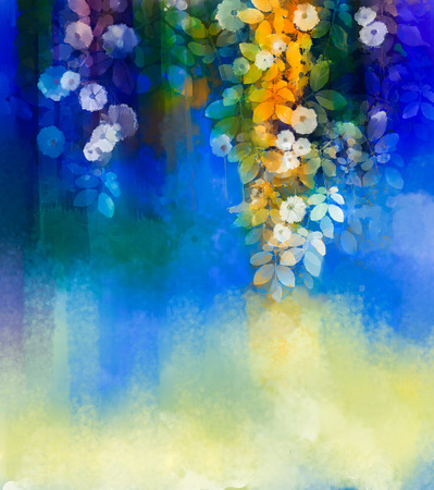 Abstract flowers watercolor painting.Hand paint White flower with soft green leaves  on blue and green color background. Spring flower seasonal nature background with space for your design Stock Photo