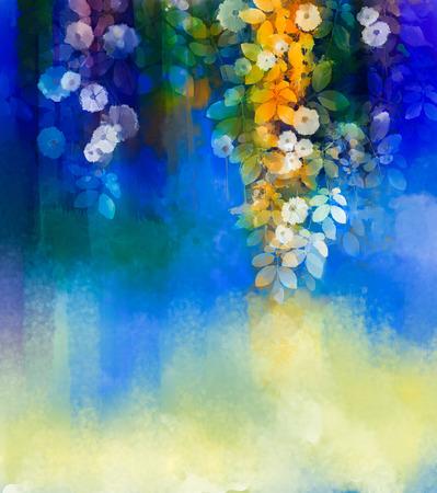Résumé des fleurs aquarelle peinture painting.Hand Fleur blanche avec des feuilles vert tendre sur bleu et vert la couleur de fond. Printemps fleur nature saisonnière de fond avec un espace pour votre conception