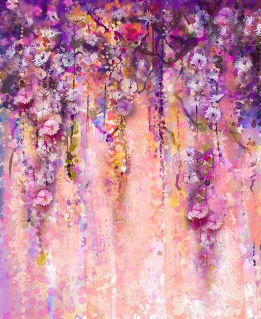 紫やピンク色の花を抽象的な水彩画。手光紫背景にボケ味を持つ花のペイントの花の藤の木。あなたのデザインのためのスペースと、春花季節自然