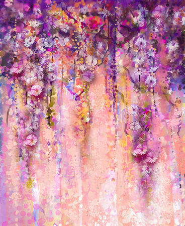 Abstract pink and violet color flowers, Watercolor painting. Hand paint flower Wisteria tree in blossom with bokeh over light purple background. Spring flower seasonal nature background with space for