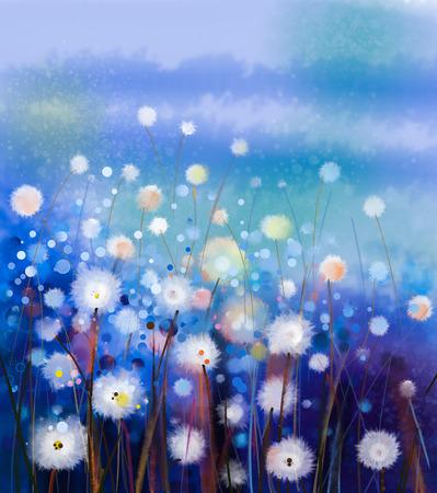 부드러운 색상 추상 유화 흰색 꽃 필드. 초원에서 유화 흰 민들레 꽃. 배경에 파란색 - 녹색 언덕과 봄 꽃 계절 자연.