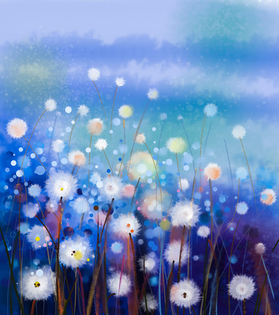 Abstract oil painting white flowers field in soft color. Oil paintings white dandelion flower in the meadows. Spring floral seasonal nature with blue -green hill in background.