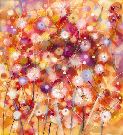 カラフルな花、水彩絵を抽象化します。手は、黄褐色の背景に柔らかい色に白、黄色、赤の花をペイントします。春の花季節自然の背景