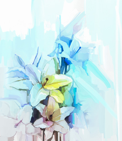 still life flowers: Still life of white color flowers with soft pink and blue background. Oil Painting Soft colorful Bouquet of lily flower. Hand Painted floral Impressionist style