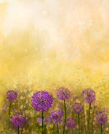 牧草地の油絵紫タマネギの花。タマネギ畑でソフト日没カラフルでボケ味を持つぼかしスタイル。春、花の自然の背景
