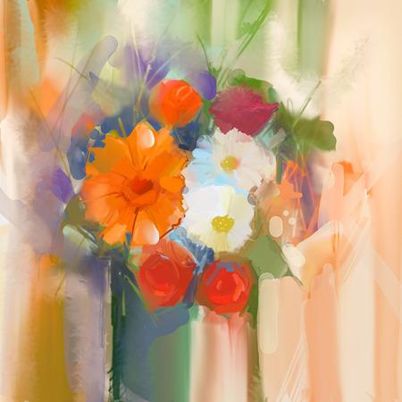 Nature morte d'un bouquet de fleurs. Peinture à l'huile marguerite rose et fleurs dans un vase. Main floraux peints en couleur douce et floue de fond style