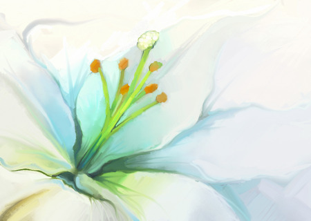 lirio blanco: Cierre de la pintura al óleo del lirio blanco flower.Flower Foto de archivo