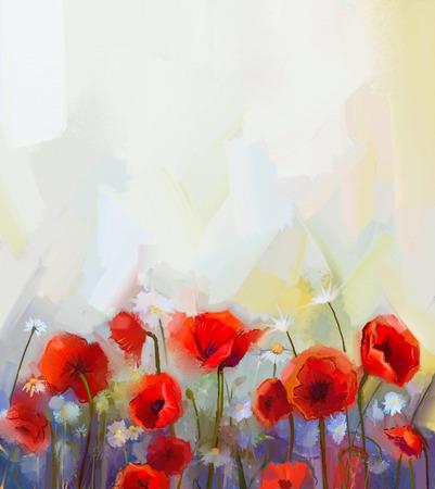 油絵赤いケシの花。春、花の自然の背景