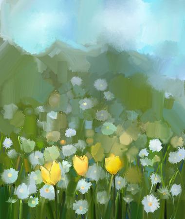 Domaine de la tulipe jaune et fleurs de marguerite blanche .Hand floraux peints dans des couleurs douces et un style floral floue .Spring caractère saisonnier couleur verte fond Peinture à l'huile Banque d'images
