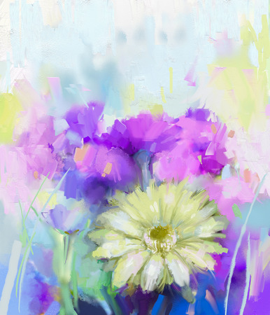 bright paintings: Still life of white, purple and red color flowers .Oil painting a bouquet of daisy and gerbera flowers. Hand Painted floral Impressionist style