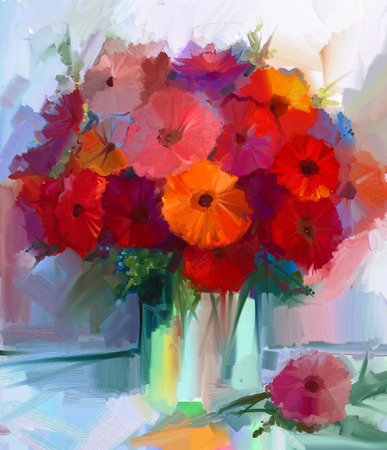 Still life a bouquet of flowers. Oil painting red gerbera flowers in vase. Hand Painted floral in Impressionist style