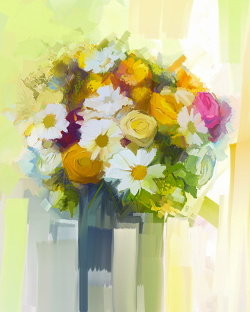 Still life a bouquet of flowers. Oil painting white red and yellow flowers in vase. Hand Painted floral in soft color and blurred style background