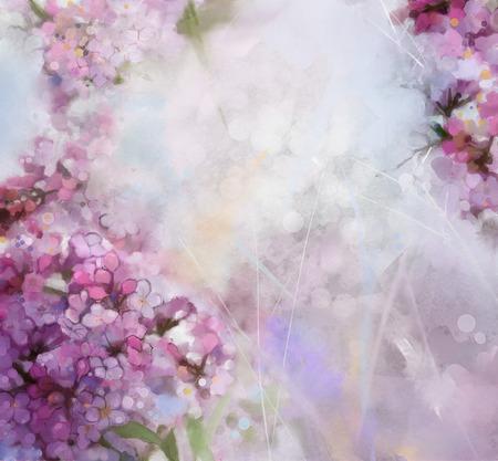 抽象的な水彩ペイント ソフトでピンクの梅の花カラフルでぼかし仕立て、ボケ味、春花グランジ紙背景に季節の自然 写真素材