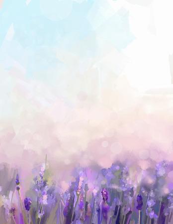 fleurs de lavande de peinture à l'huile dans les prés. Résumé soleil de peinture à l'huile au champ de fleurs dans la couleur et le flou style doux pourpre avec bokeh.