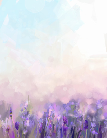 Oil painting lavender  flowers in the meadows. Abstract  oil painting sunshine at flower field in soft purple color and blur style with bokeh background. Stock Photo