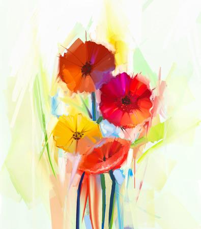 봄 꽃의 추상 유화. 노란색과 빨간색 gerbera 꽃의 아직도 인생. 손으로 그린 꽃 인상파 스타일