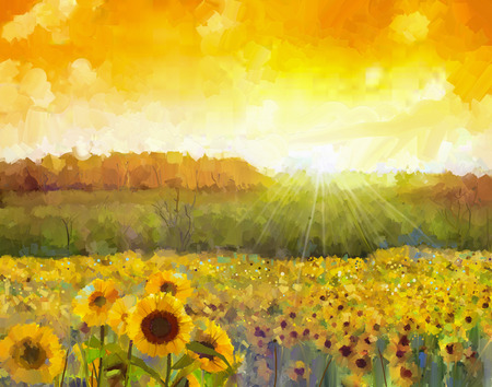ヒマワリの花の花。黄金のひまわり畑と田舎の日没の風景を描いた油彩画。背景にオレンジ色の夕日と丘の色の暖かな光。