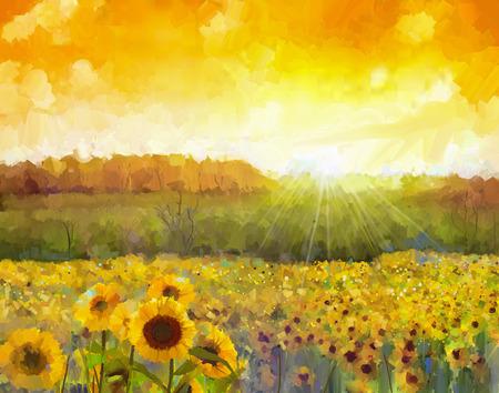 girasol: Flor de girasol blossom.Oil pintura de un paisaje rural sunset con un campo de girasol de oro. Luz caliente del color de la puesta del sol y la colina de naranja en el fondo.