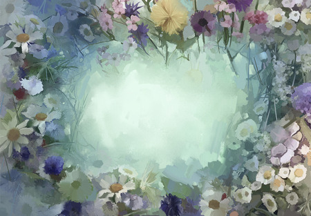 nature abstract: Vintage flowers painting.Flowers in soft color and blur style for background.Oil painting flowers