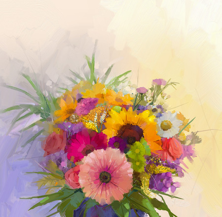 still life flowers: Vase with still life a bouquet of flowers. Oil painting
