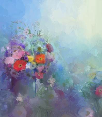 Abstract flower painting.Vase with still lift bouquet of Vintage flowers oil painting.Flowers in soft color and blur style for background.
