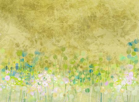 Abstract schilderij bloemen veld op grunge papier textuur achtergrond Stockfoto