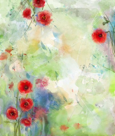colorful flowers: Red poppy flower with scenic watercolor background Stock Photo