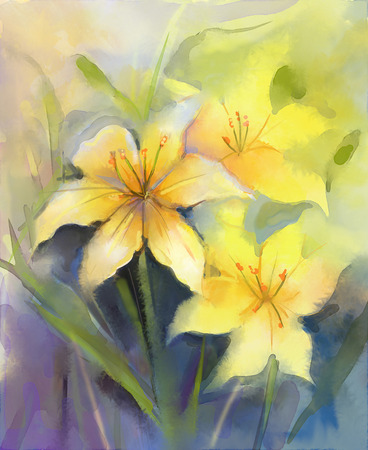painting nature: Three Yellow lily flower.Watercolor painting floral,in soft color background.Hand Painted close up of lilies floral petals