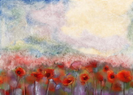 papaver: Red poppy flowers filed  watercolor painting Stock Photo