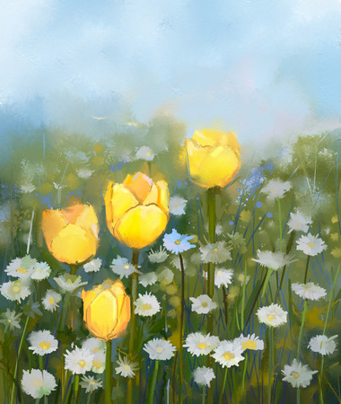 Oil painting field of yellow tulip and white daisy flowers .Hand Painted floral in soft color and blurred style .Spring floral seasonal nature green color background