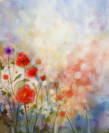 Water color painting red poppy flowers. Flowers in soft color and blur style. Spring floral seasonal nature background Stock Photo