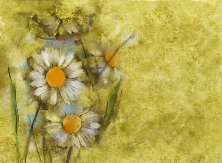 cuadro abstracto: margaritas blancas sobre fondo de papel del grunge