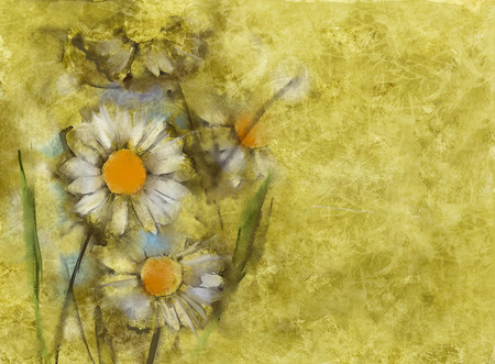 abstract painting: White daisies on grunge paper background