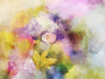 Vintage flowers painting.Flowers in soft color and blur style for background.Water colour painting flowers Stock Photo