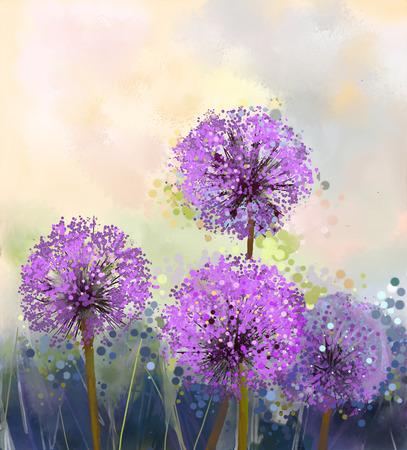 油絵紫タマネギの花。柔らかいカラフルな春花季節自然バック グラウンドで花絵を抽象化します。
